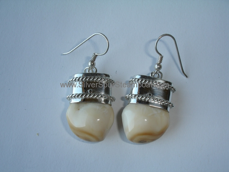 Double twist SScapped Elk Ivory earrings