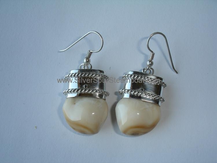 Double twist SScapped Elk Ivory earrings