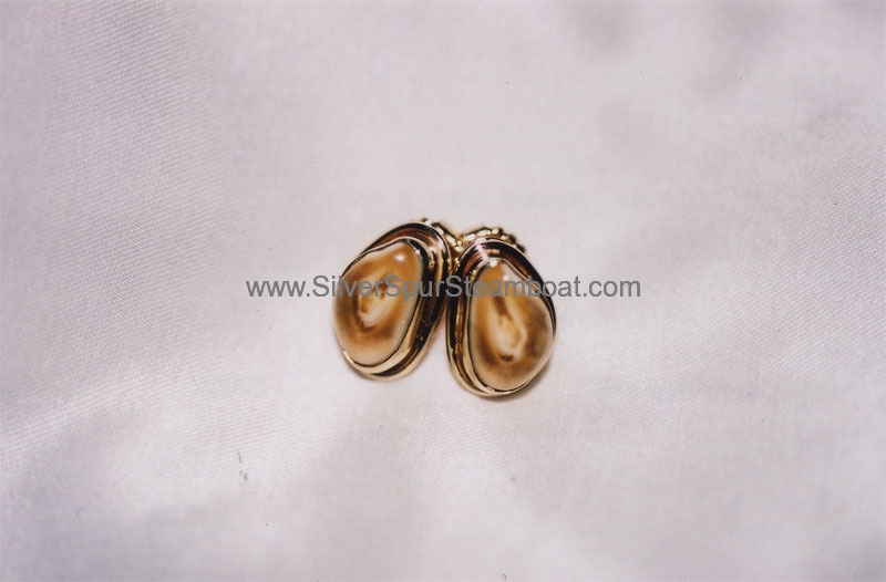14k gold Elk Ivory studs with smooth wire trim