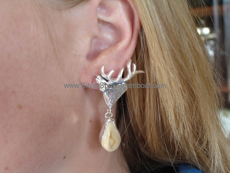 SSelk head Elk Ivory earrings
