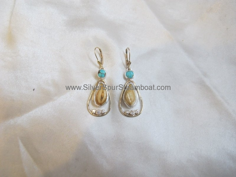 SS with 14k Gold accent Elk Ivory earrings with Turq and Diamonds