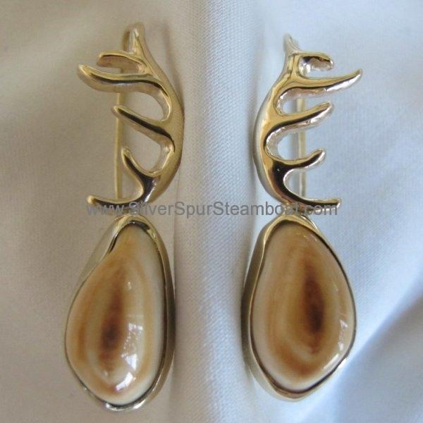 14K cast sm antler earrings