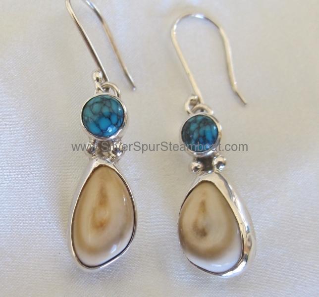turq elk Ivory earrings