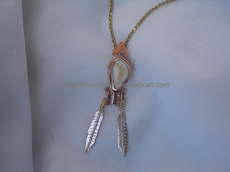 14k Red gold feather Elk Tooth pendant