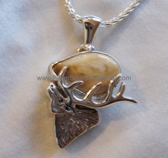 Sterling silver cast Elk head Ivory Pendant