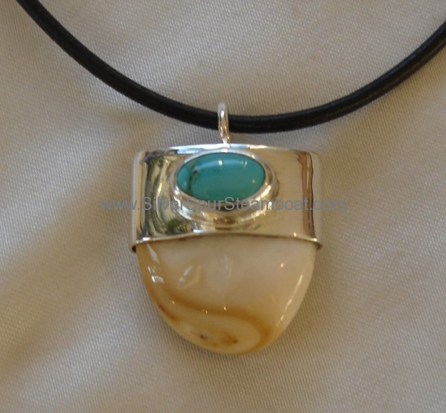 Sterling Silver with Turquoise Elk tooth Ivory capped Pendant