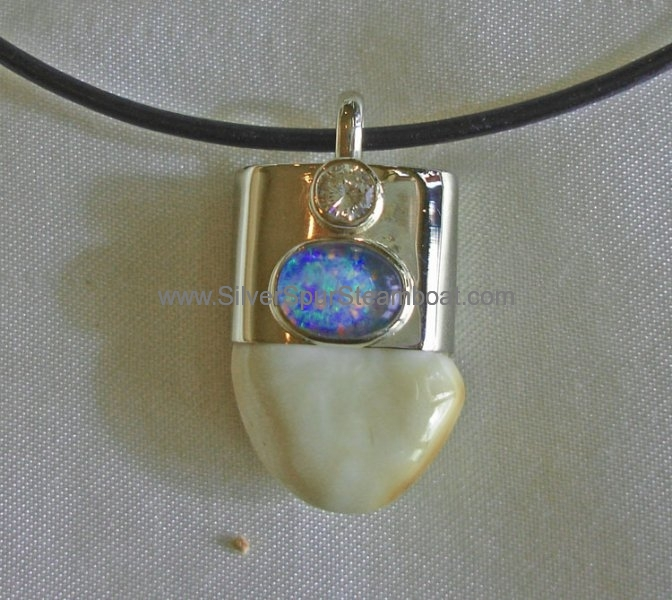 Sterling silver capped Elk Ivory with Opal and Diamond Pendant
