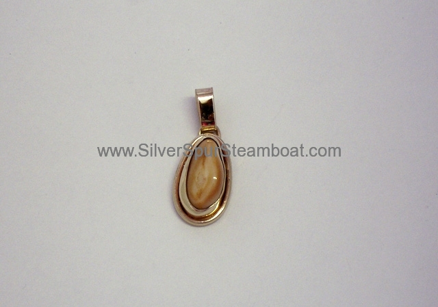 Solid 14k yellow Elk Ivory Pendant with smooth wire trim
