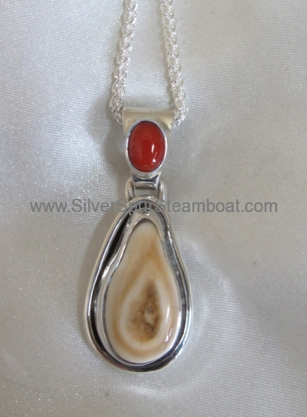 Sterling Silver Pendant with Coral on the Bail