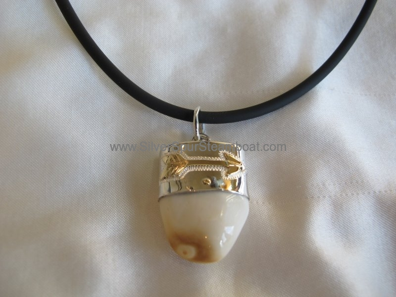 Sterling silver capped elk tooth pendant with 14k arrow