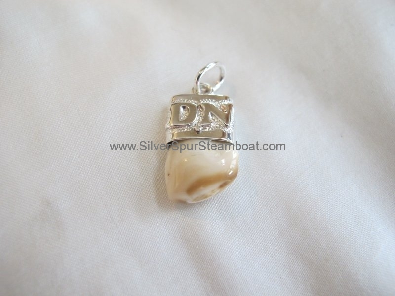 Sterling silver capped elk tooth pendant with Sterling silver overlayed initials
