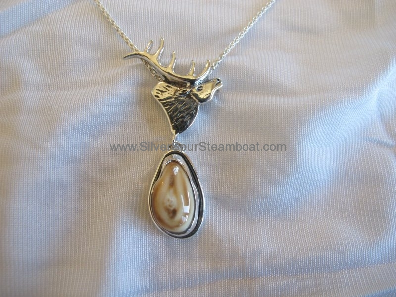 Elk tooth Ivory Sterling silver Elk head Necklace