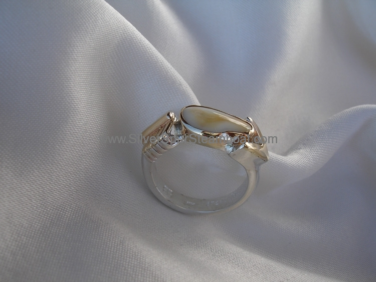 Sterling Silver And 14k gold elk tooth ring