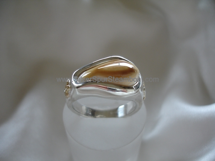 Sterling Silvercast band style Elk tooth ring with 14k initials