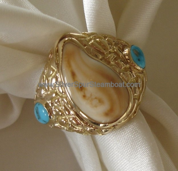 14K yellow gold Man's nugget style Elk Tooth ring with Turquoise accents