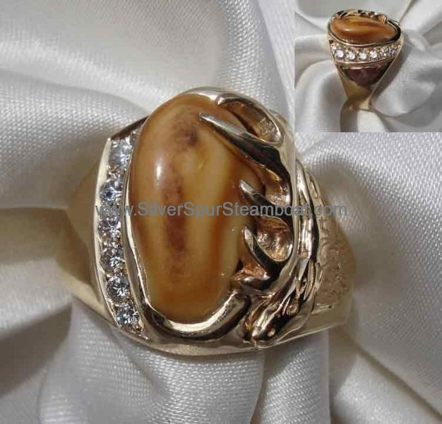 Cast 14k Yellow Elk Head ring with 5 Pave' set diamonds