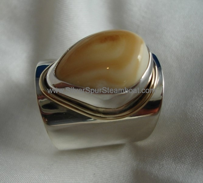 Fabricated Sterling Silver Elk tooth wide band ring with 14ky gold wire trim