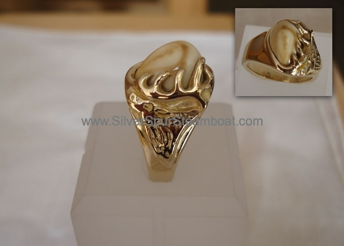 14k Y cast Elk head elk tooh ring