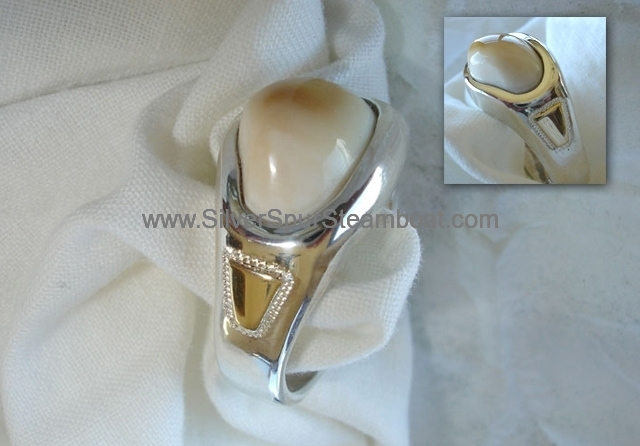 Sterling Silver Cast band style Elk tooth ring with 14k accents