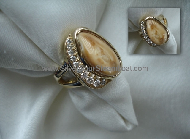 14k Yellow cast elk tooth ring with pave' diamonds