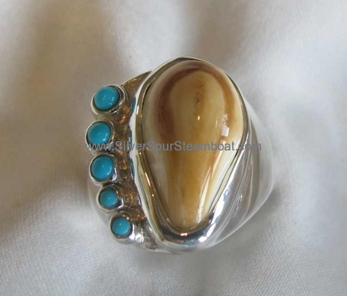Elk tooth and Turquoise fabricated Ring