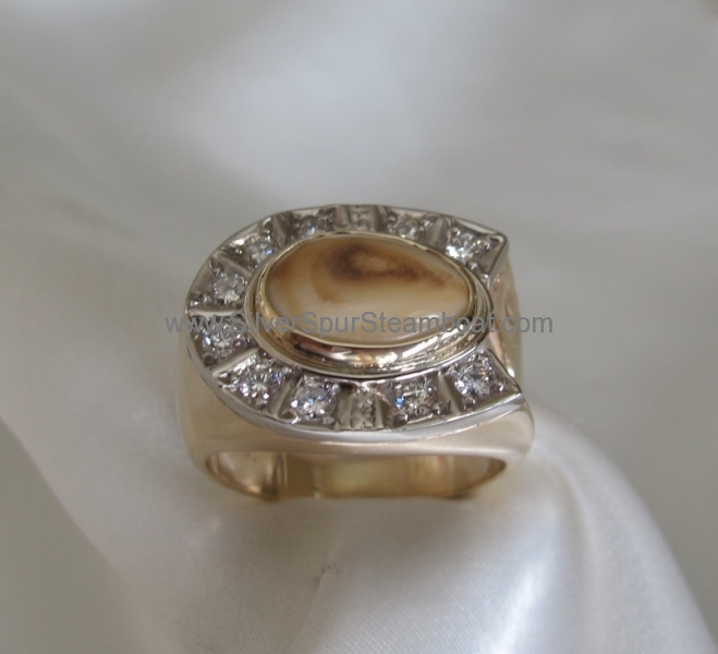 Diamond horse shoe Elk Ivory ring