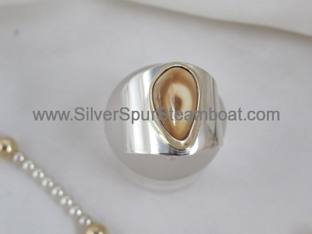 Fabricated ring with 14k yellow bezel around Elk tooth