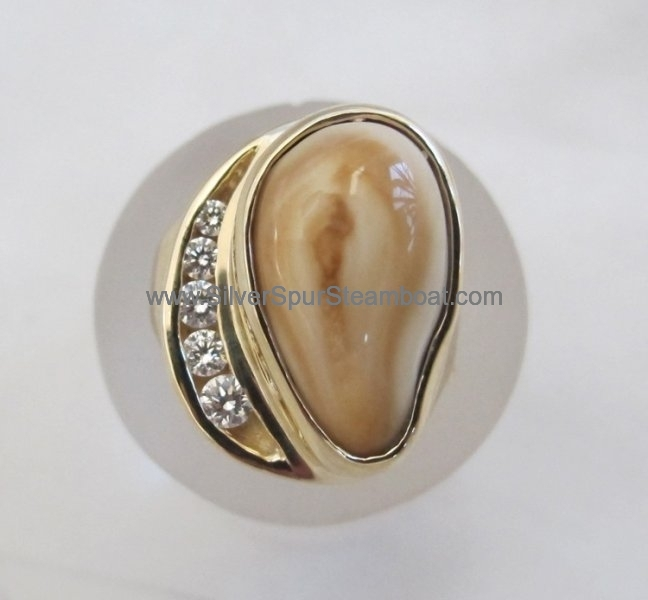 Cast 14K yellow elk tooth ring with channel set diamonds