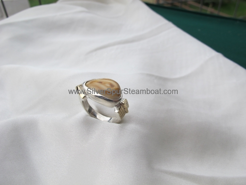 Sterling Silver w/1rK Gold arrow Elk Ivory Ring