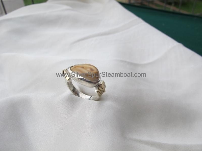 Sterling Silver w/1rK Gold arrow Elk Ivory Ring