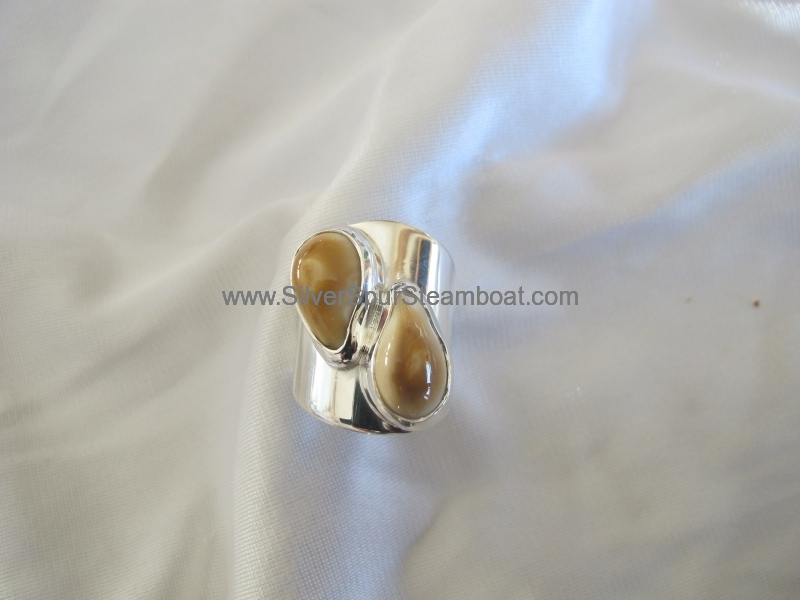 Sterling Silver Two Ivory Ring