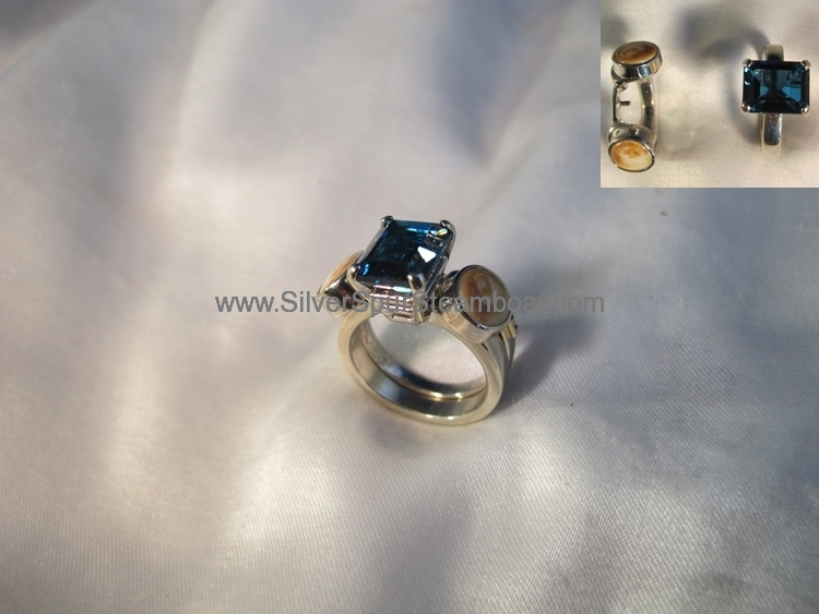 14k White 2 part Elk tooth ring with London Blue Topas