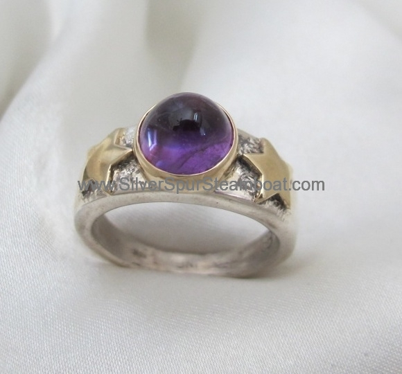 amythyst-two-toned-ring SS and 14kgold $475